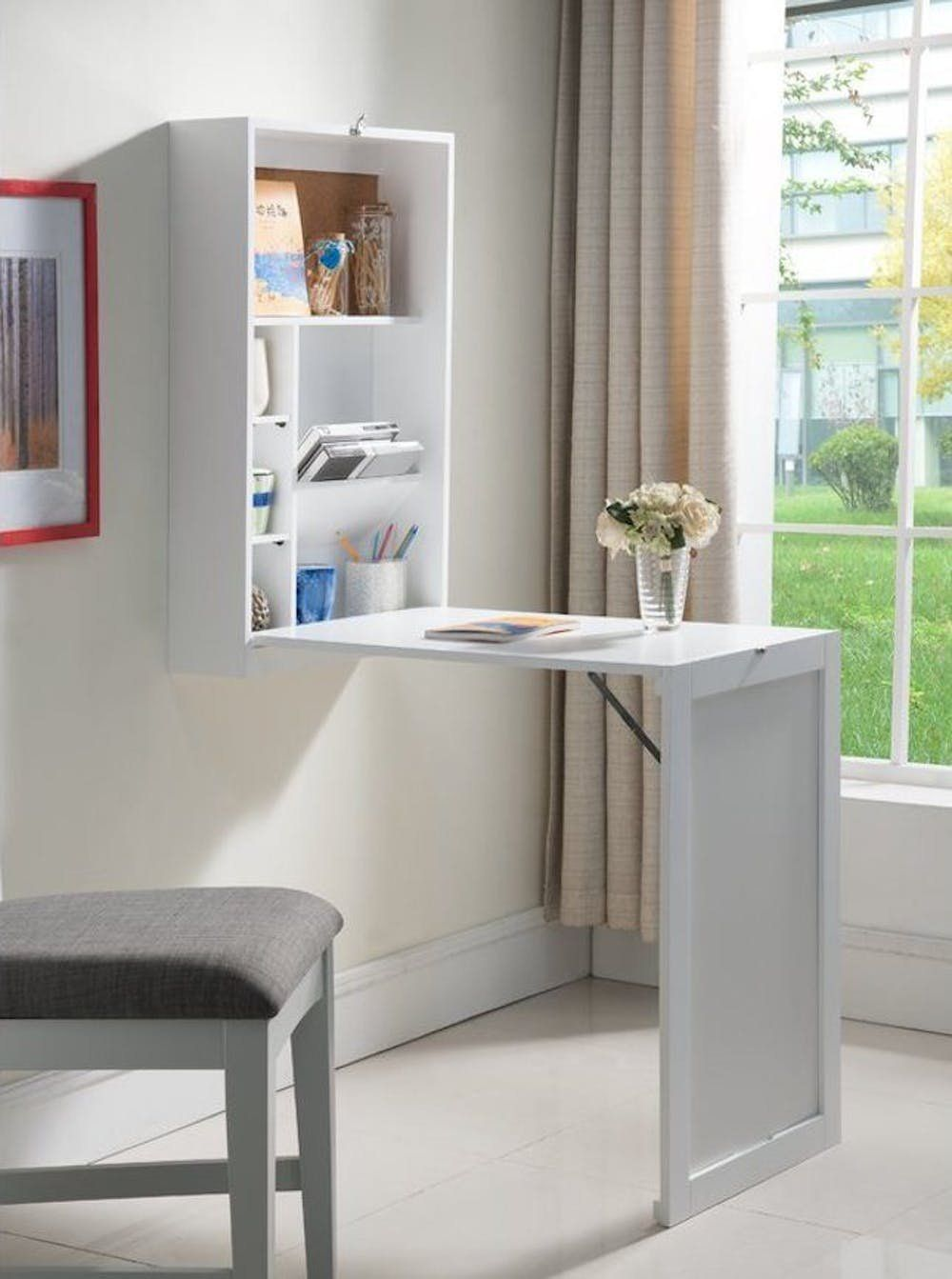21 space saving wall mounted desks to buy or diy wall mounted desk rh pinterest com