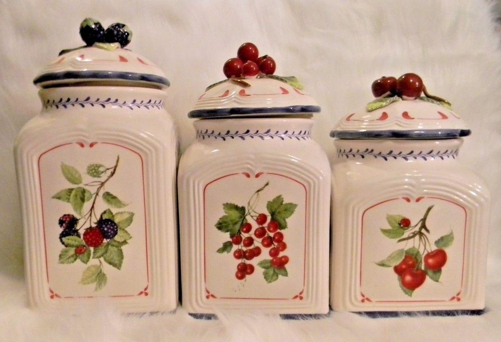 Villeroy And Boch Cottage Inn Country Collection Canister Set Ceramic Berries Villeroyboch Villeroy Boch Canister Sets Cottage