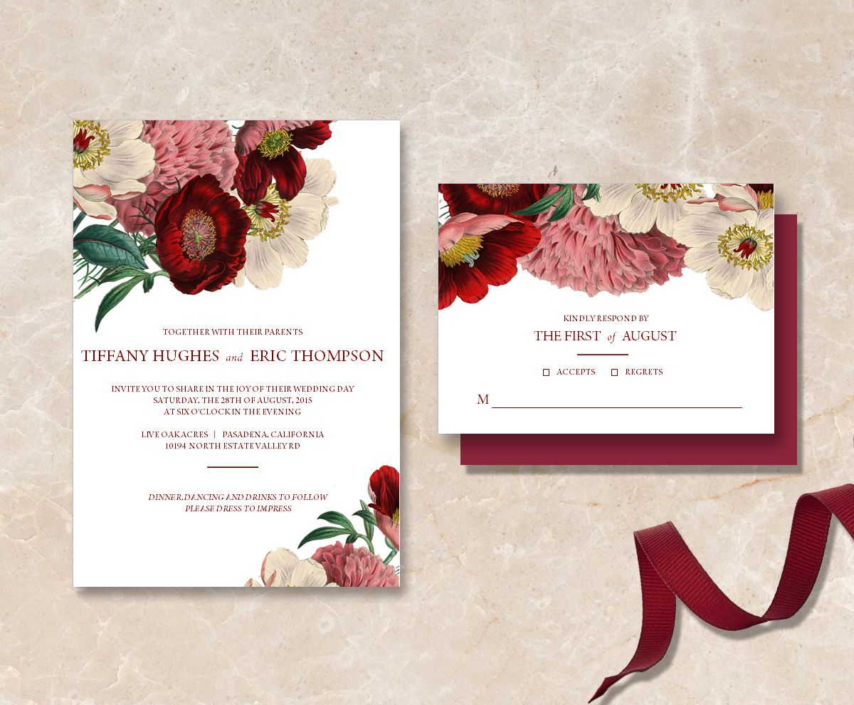 Printable Maroon Floral Wedding Invitation Suite DIY