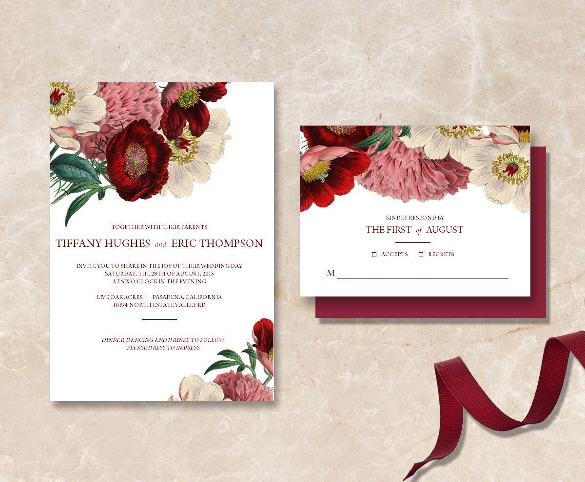 Printable Maroon Fl Wedding Invitation Suite Diy Has