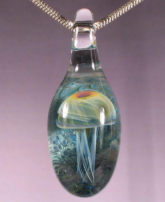 Glass Jellyfish Pendant Boro Necklace Glass Peace Lampwork Jewelry