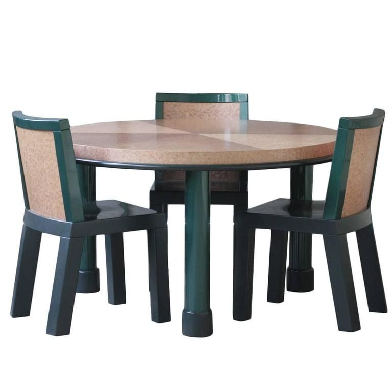 Furniture Ettore Sottsass Dining Table and Three