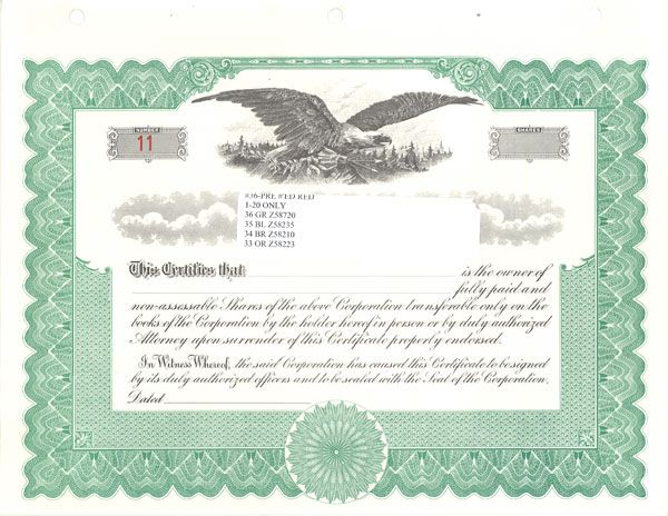 ... Kalljpg   Stock Certificates Blank Legal Documents Pinterest   Example  Of Share Certificate ...  Example Of Share Certificate