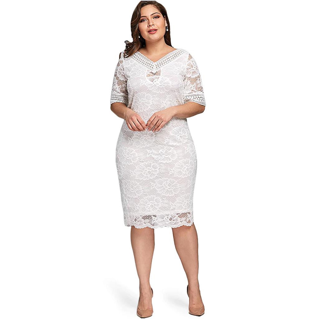 Plus Size XL-5XL Womens Bodycon V Neck Half Sleeve Lace Ladies Party Midi Dress