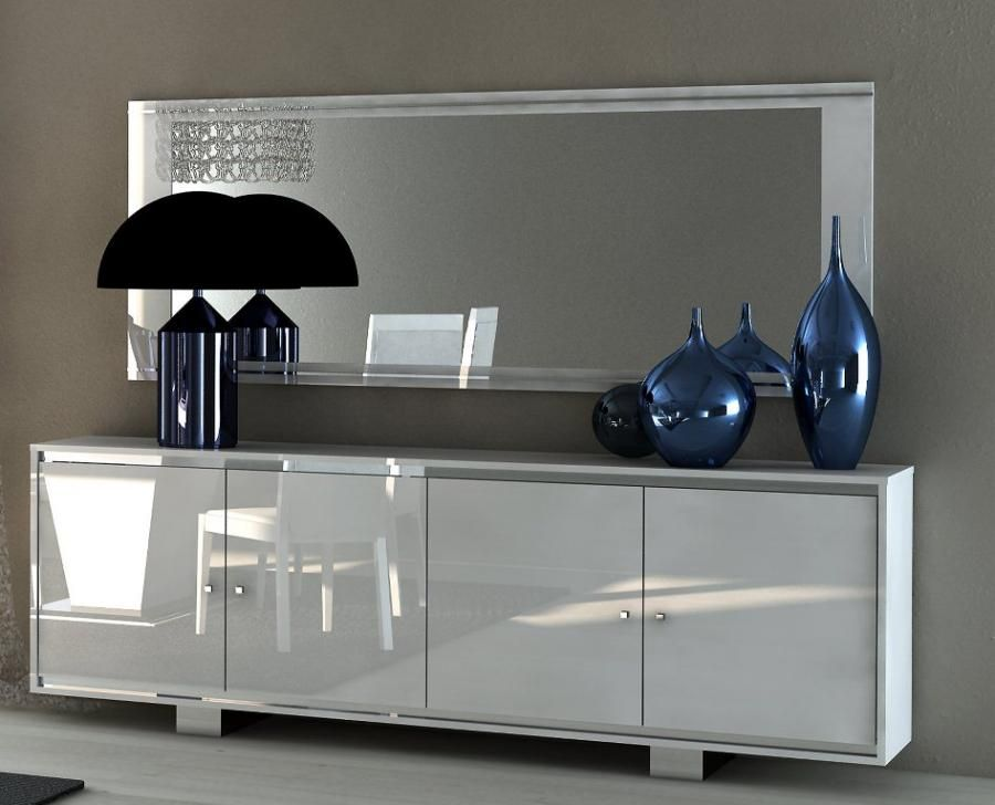 Caprice Contemporary 4 Door Sideboard In White High Gloss With Doors Glass Croco