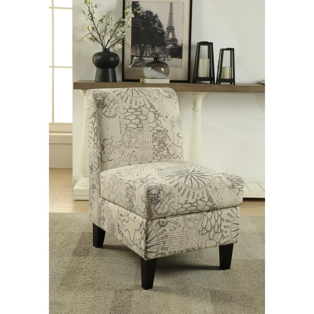 Acme Furniture Ollano Ii Map Pattern Accent Chair With Storage