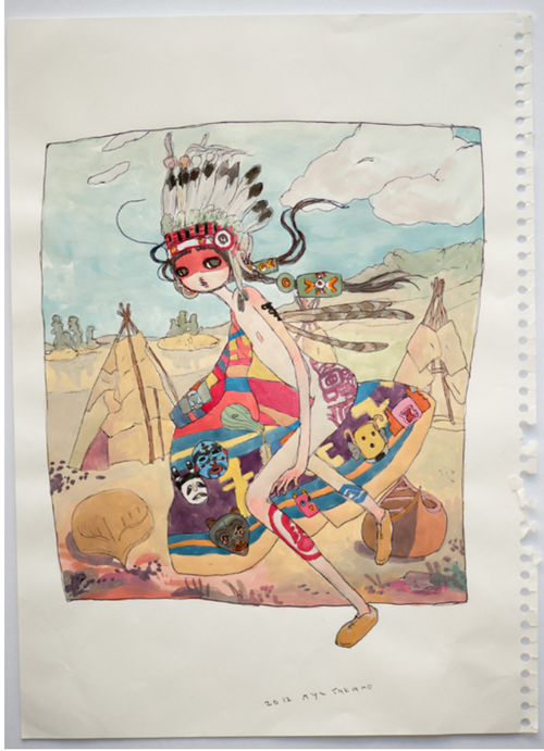 """An American Indian (dancing)"", 2012 Watercolor and pencil on paper 25,8 x 18,2 cm / 10 1/4 x 7 1/4 inches ©2012 Aya Takano/Kaikai Kiki Co., Ltd."
