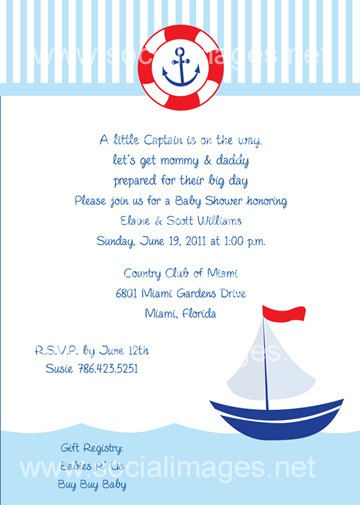 Nautical Sail Invitation Boy Baby Shower or birthday party by
