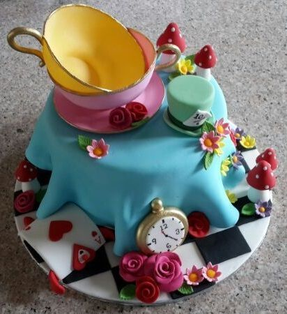 Mad Hatter S Tea Party Cake Tea Party Cake Party Cakes Mad