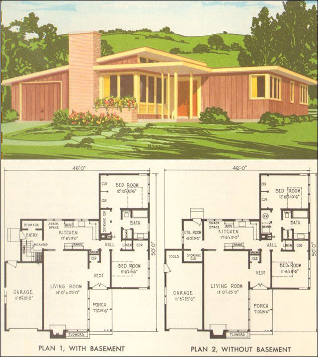 Mid century modern house plan no 5305 1954 national for American residential architecture