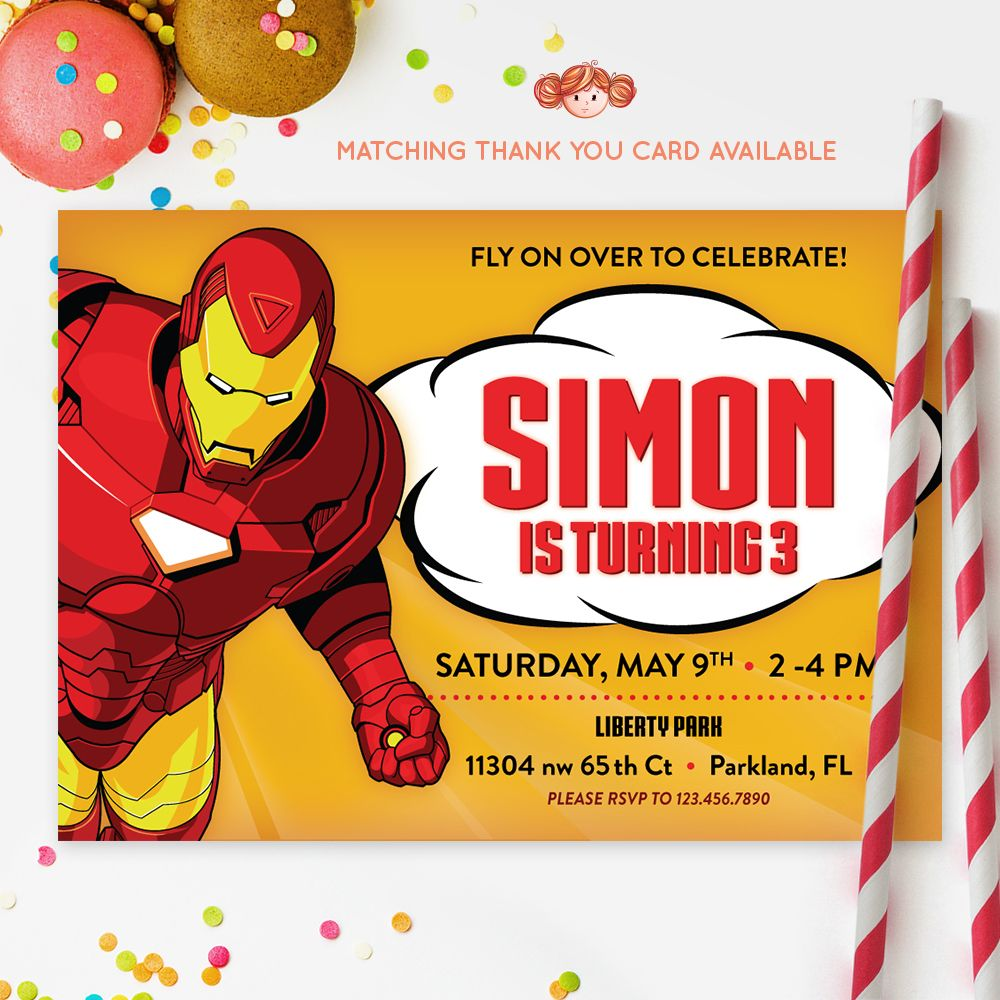 IRONMAN INVITATION Iron Man Printable Kids Invitation Birthday