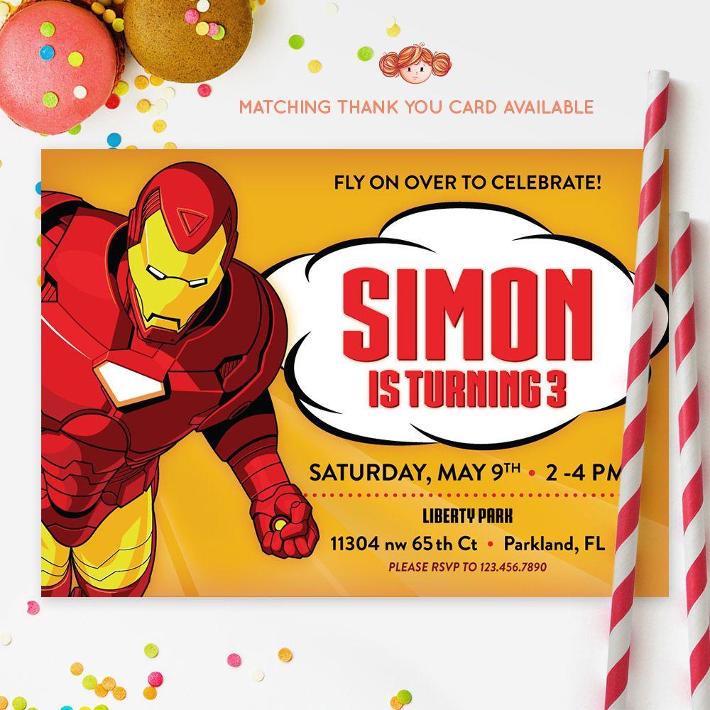 IRONMAN INVITATION, Iron Man, Printable Kids Invitation, Birthday ...