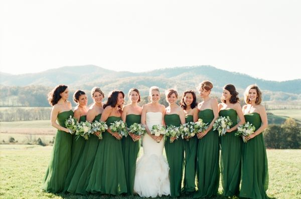 Wedding emerald green bridesmaid dresses