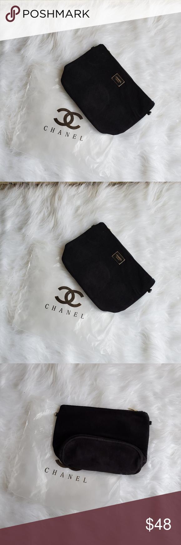 NEW CHANEL Black Velvet Makeup Bag with Gold CHANEL Black