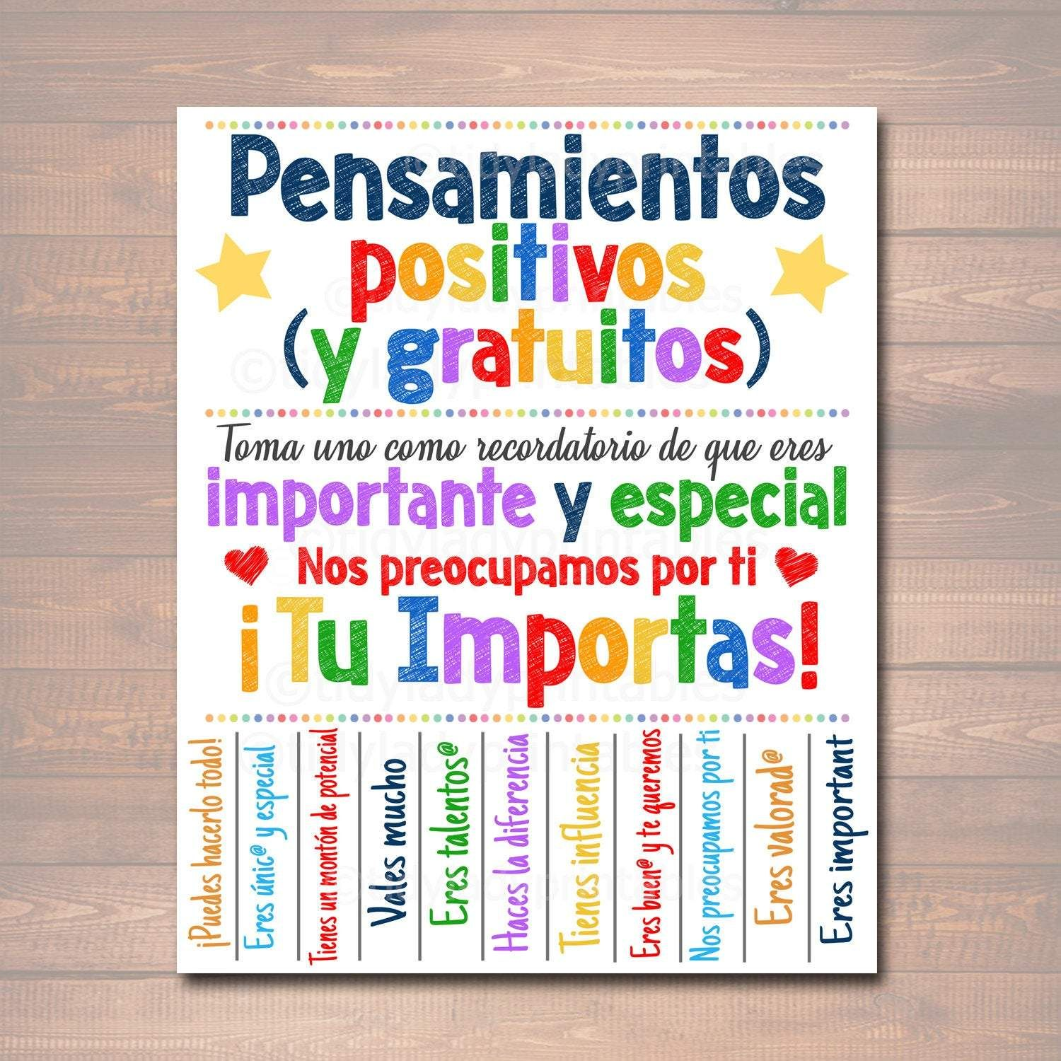 Free positive thoughts spanish tearoff flyer school