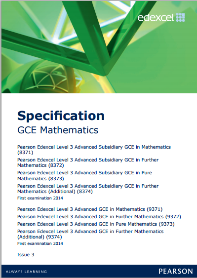 edexcel mathematics as a level 8371 9371 specification further