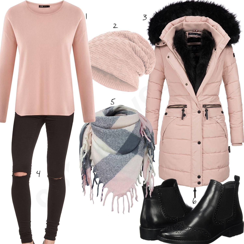 Schwarz Rosa Damenoutfit mit Mütze und Schal | Outfit