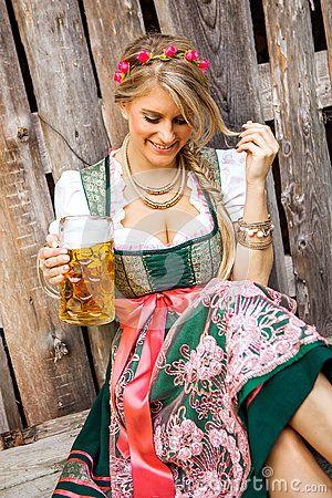 Pretty young german oktoberfest blonde woman in a dirndl