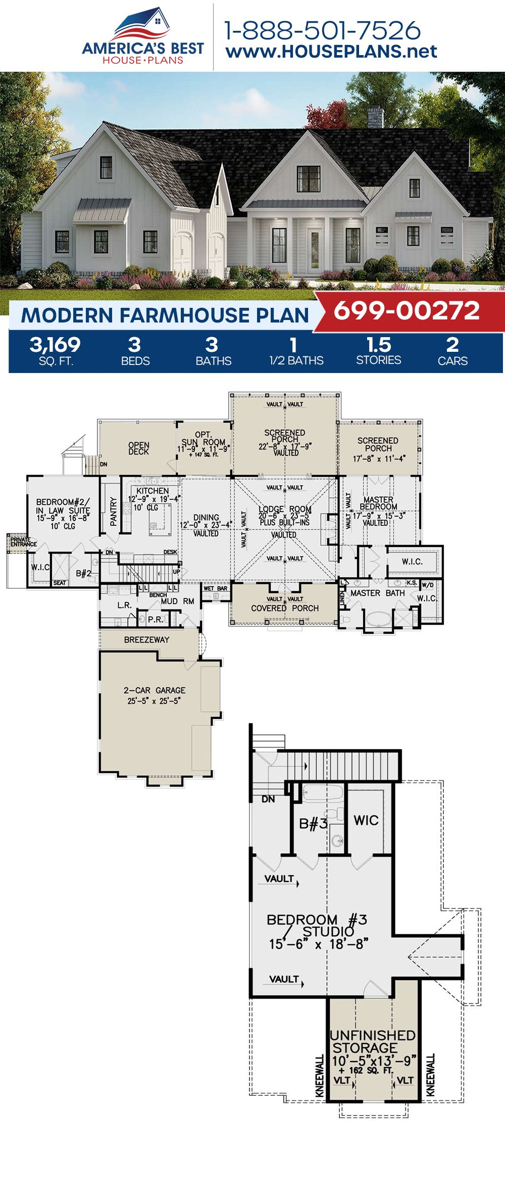 House Plan 699 00272 Modern Farmhouse Plan 3 169 Square Feet 3 Bedrooms 3 5 Bathrooms Modern Farmhouse Plans Farmhouse Plans Pool House Plans
