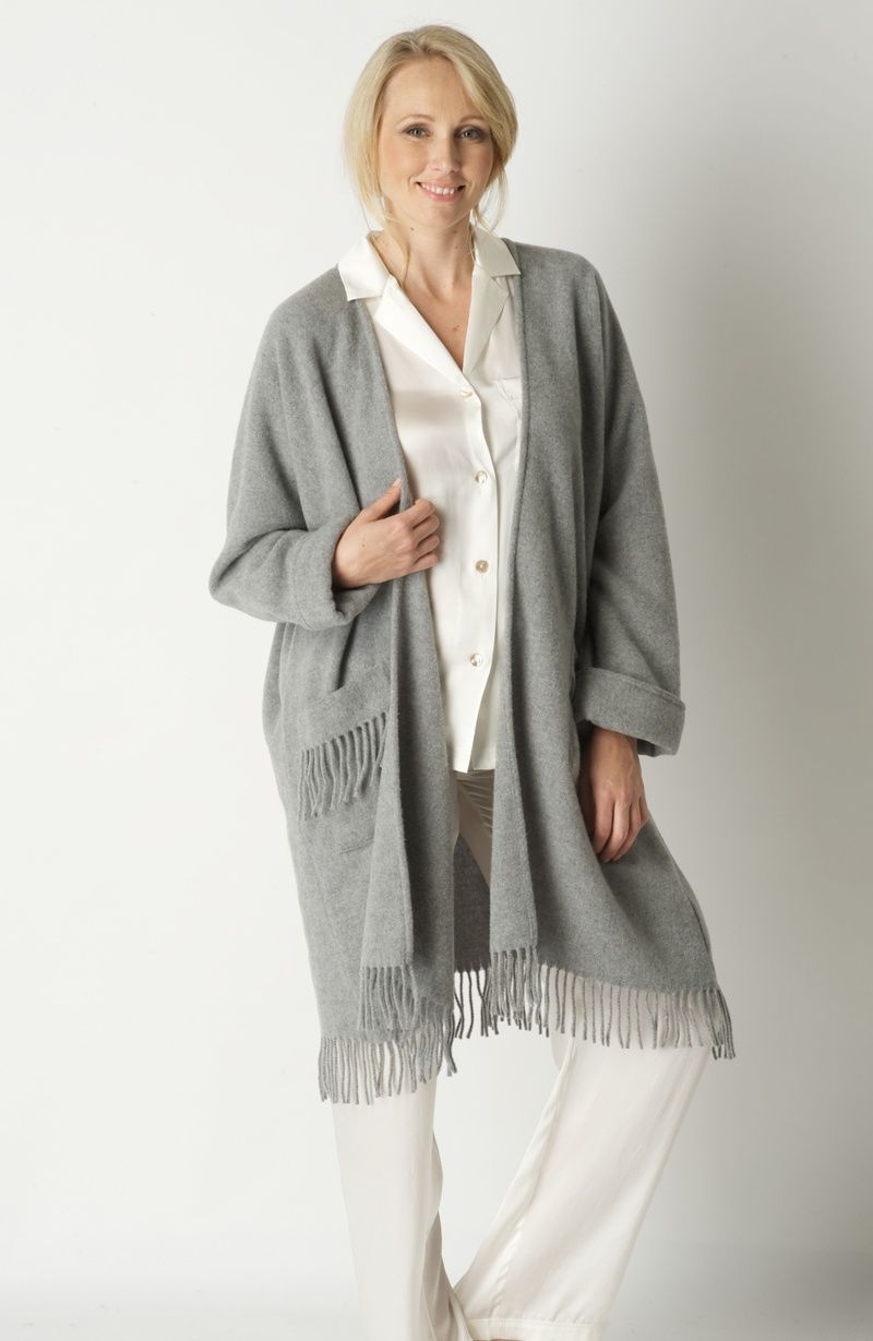 Ladies Knee-Length One Size Wool Dressing Gown Poncho with Fringe ...