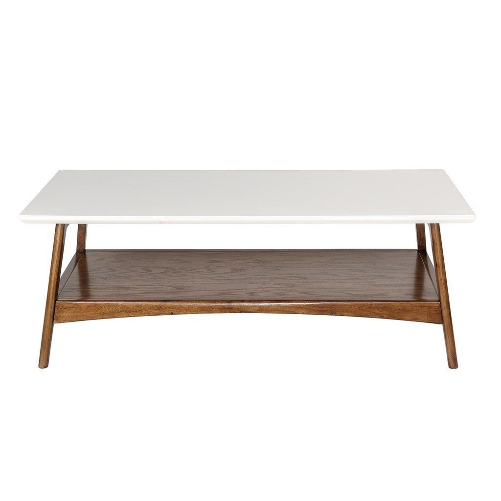 Amazon Com Mid Century Modern Coffee Table In White And Pecan Wood Finish Home Kitc Solid Wood Coffee Table Accent Furniture Living Room Solid Coffee Table [ 1024 x 1024 Pixel ]