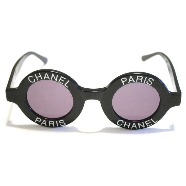2d40484177 Chanel Vintage Round Black Sunglasses 1993 With Chanel Black Leather...  ( 3