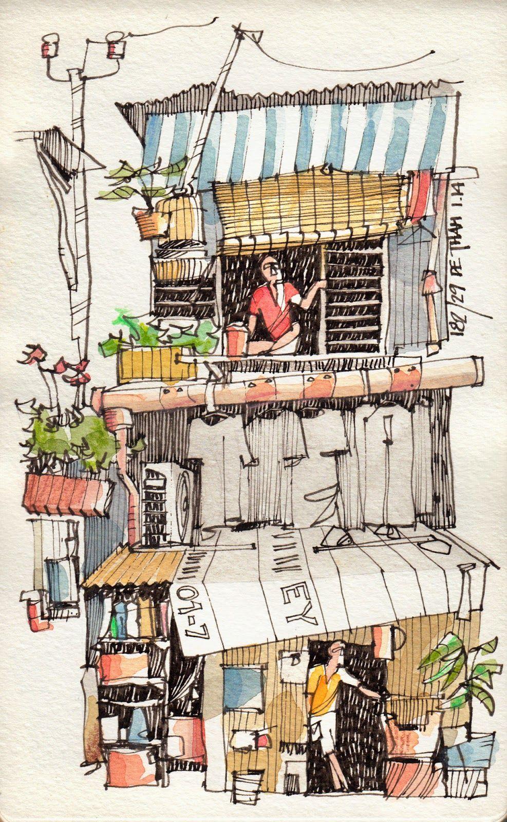 Vietnam January 2014 4 アーバンスケッチ 水彩色鉛筆 イラスト スケッチ