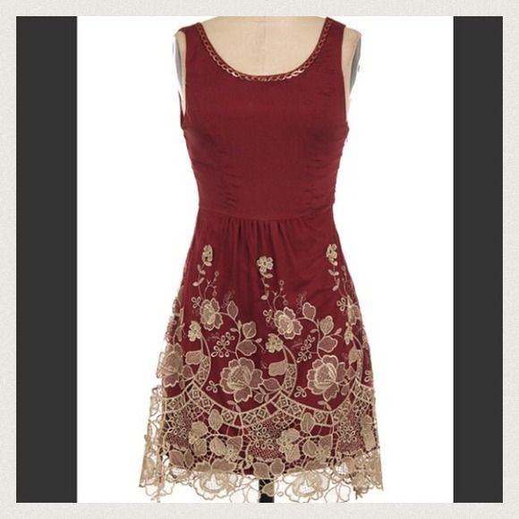 Beautiful maroon dress with gold lace nwt dress skirt for Burgundy and gold wedding dress