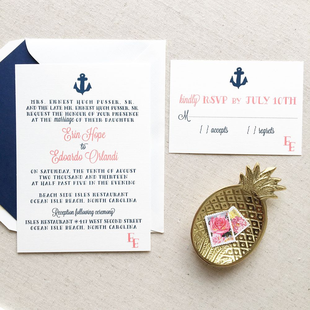 Thermography Wedding Invitations Anchor Wedding Invitation