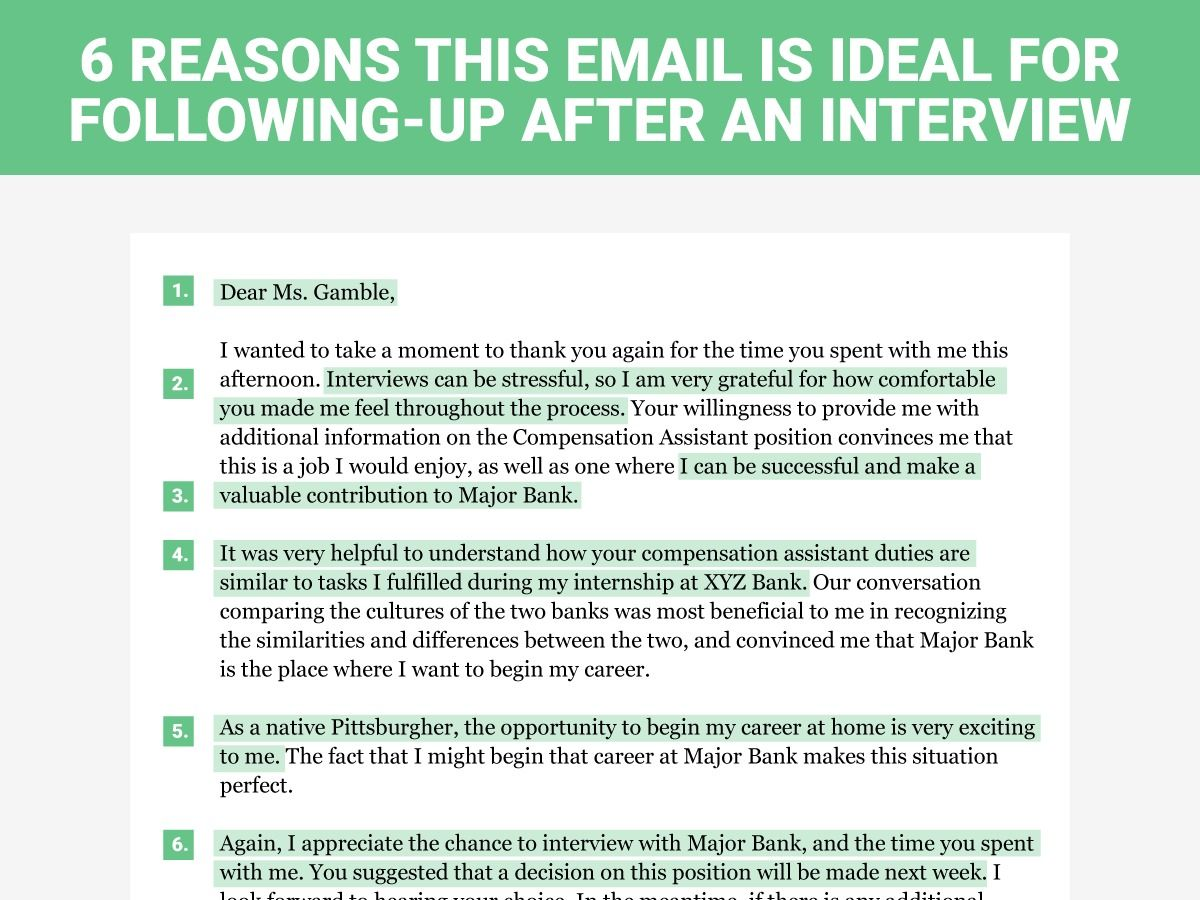 The perfect interview followup letter Business Insider