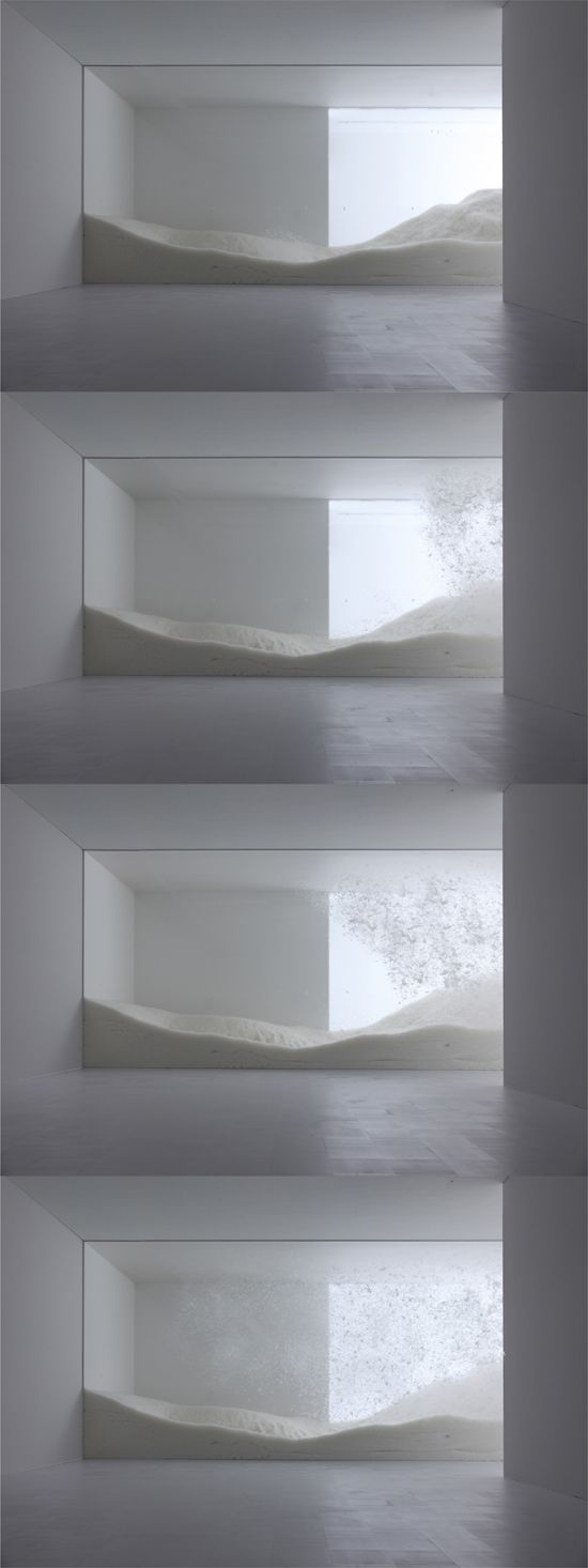 Mori Art Museum, Tokyo, Tokujin Yoshioka's project 'snow' is a dynamic 15-meter-wide installation.  it consists of a scene depicting hundreds of kilograms of light feathers blowing all over and falling down slowly is meant to remind us of the snow scape of our memories and the beauty of nature which often exceeds our imagination. visitors to the exhibition experience the feeling of looking at or walking through a snowstorm.