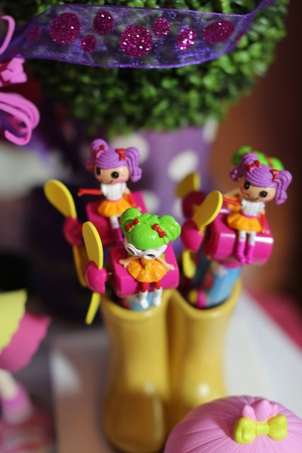 Cute favors at a LalaLoopsy Birthday Party!  See more party ideas at CatchMyParty.com!