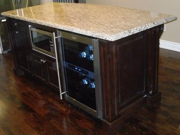 Kitchen Island With Built In Microwave And Beverage Fridge.