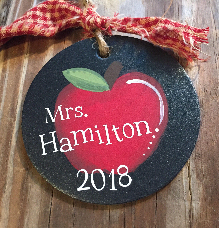 Personalized TEACHER ornament - apple - teacher ornament - FREE shipping - Free personalization - wood slice - custom gift for teacher
