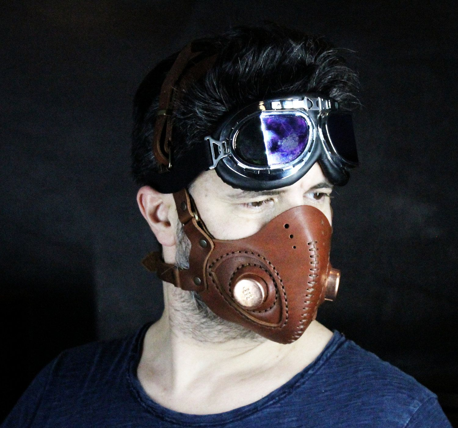 Steampunk Mask Leather Mask Halloween Mask Mouth