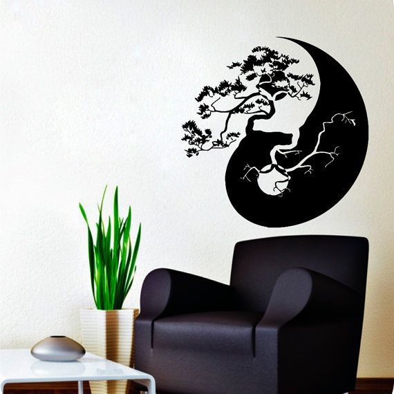 tree bonsai wall decal yin yang vinyl sticker chinese tree home