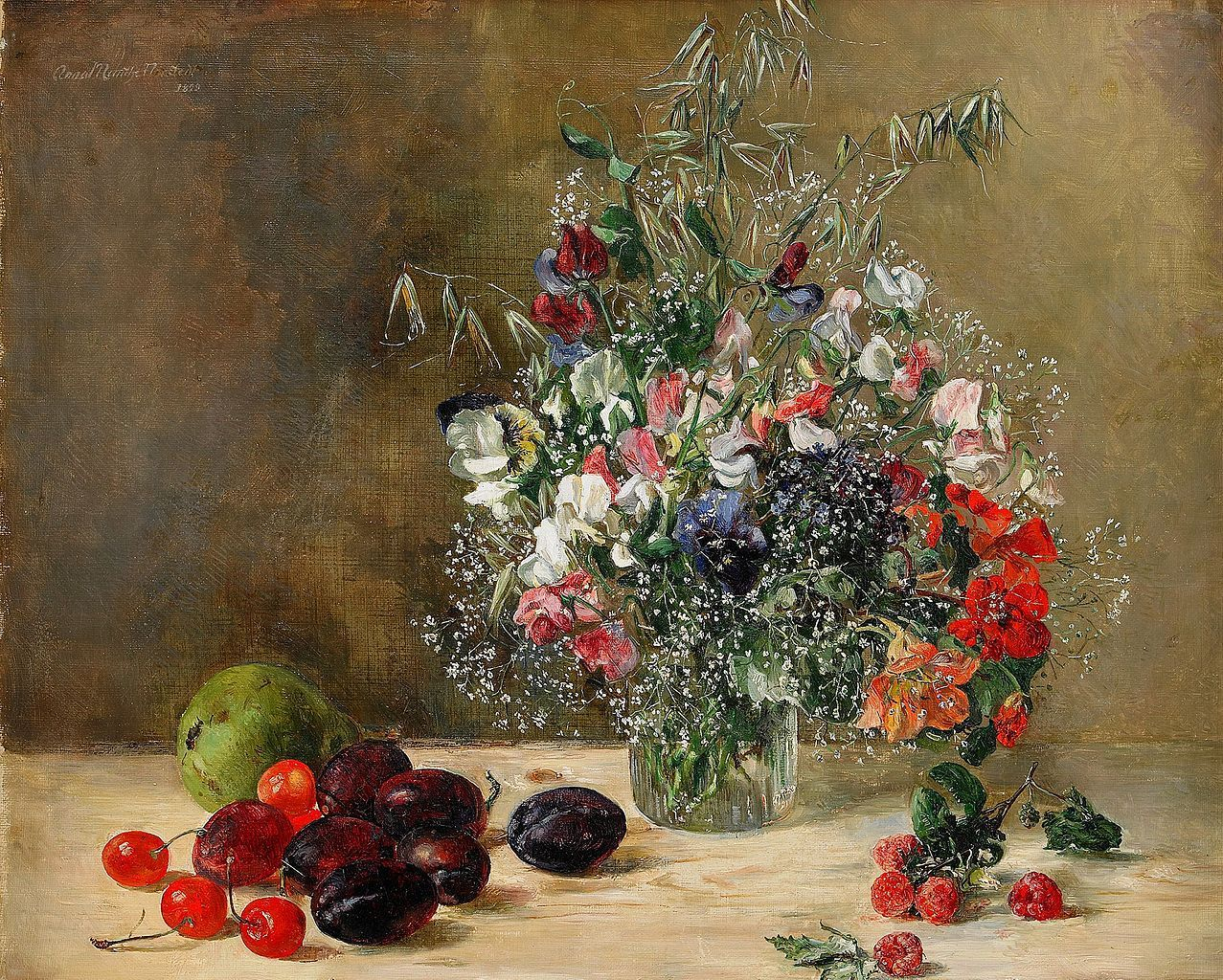 Anna Munthe-Norstedt (1854-193) — Still Life with Flowers and Fruits,1899 (1277×1024)