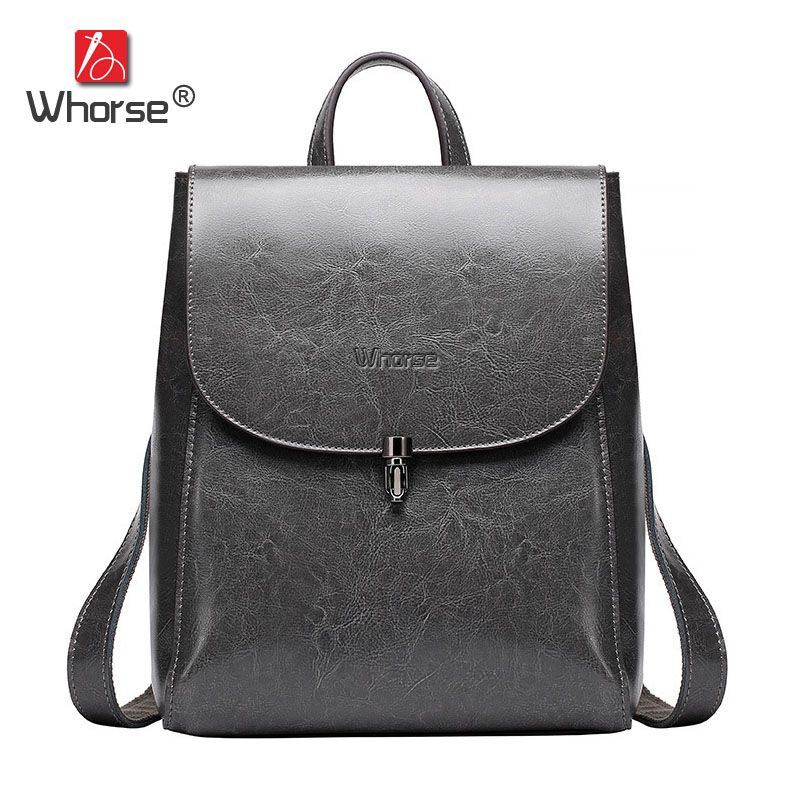 3d8ffdf02f  WHORSE  Brand Luxury Vintage Genuine Leather Backpack Cowhide Woman Back  Pack Travelling Bags W07860
