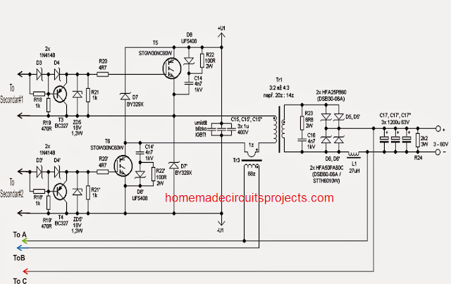 Switch Mode Adjustable 0-100V 50 Amp (SMPS) Circuit