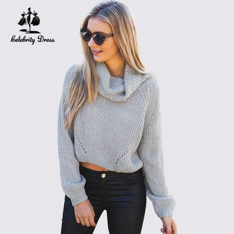 Otoño,invierno,de,cuello,alto,corto,Pullover,Sweaters,