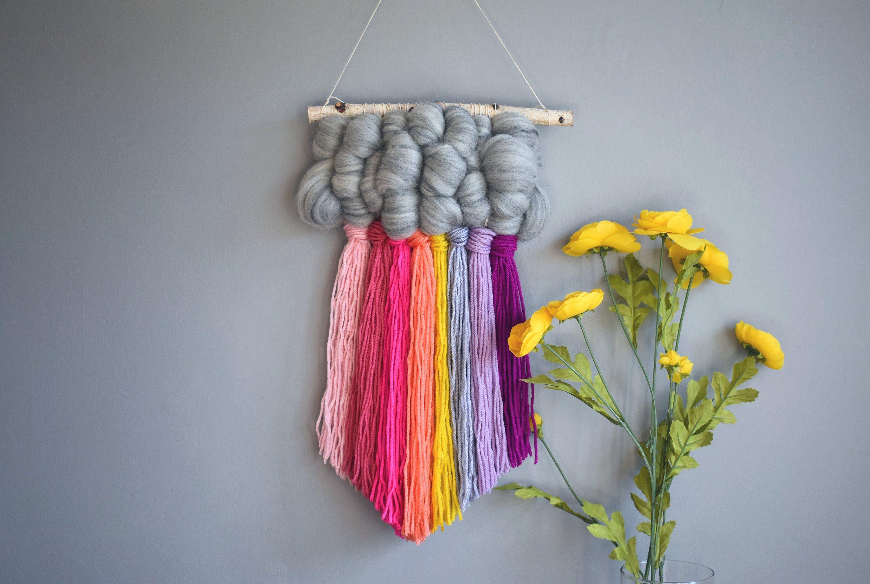 Medium rainbow cloud wall hanging wall weaving Etsy