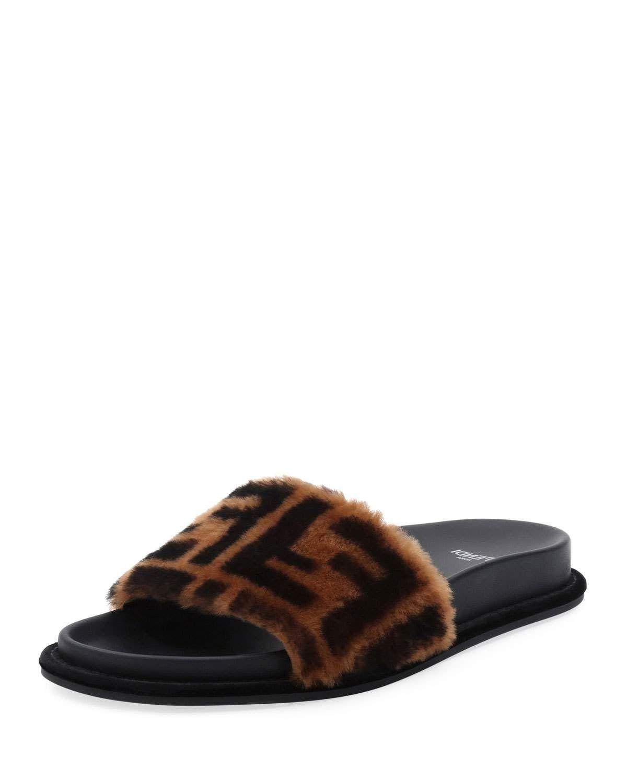 0607973c Fendi FF Fur Pool Slide Sandal | KICKS | Sandals, Shoes ...