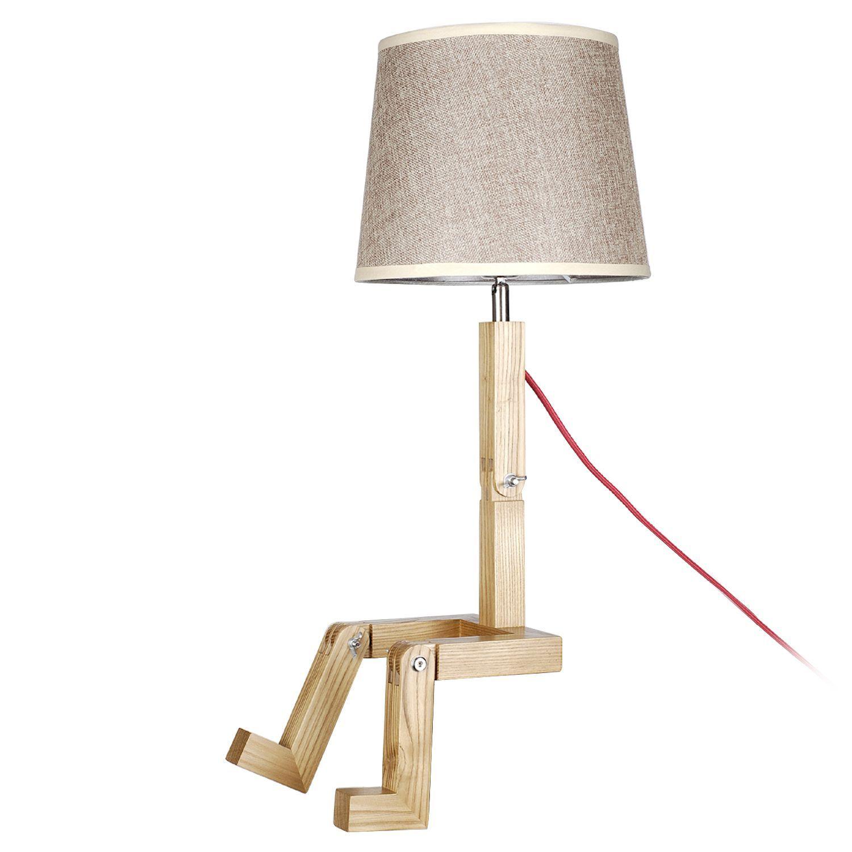 Lampe Originale Sur Pied Dont L Abat Jour Est En Toile Blanche Structure En Bois De Hetre De Haute Qualite Ut Mobilier De Salon Chaise Design Tabouret Design