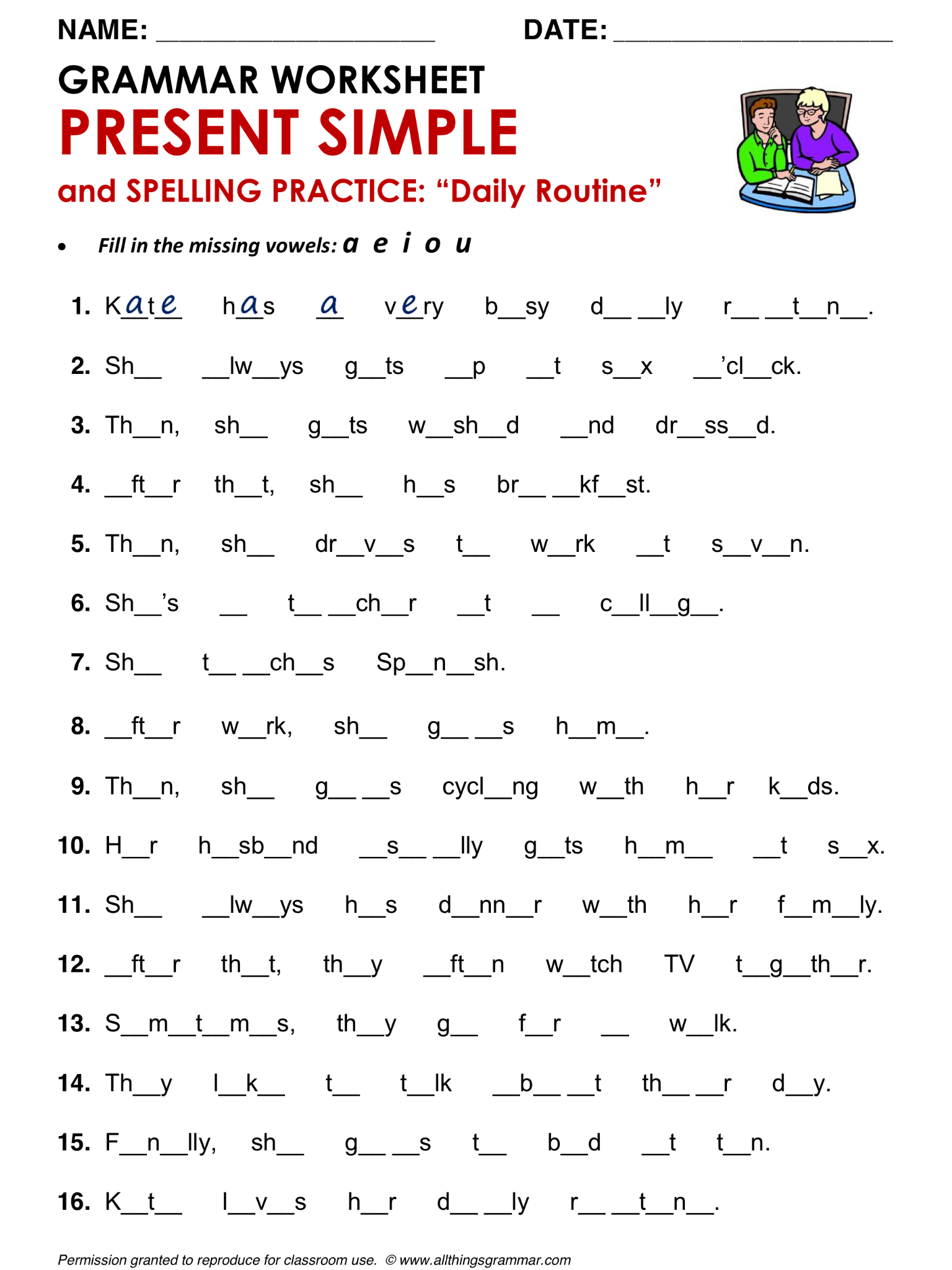 Worksheets Daily Grammar Practice Worksheets english grammar present simple and spelling practice daily routine http