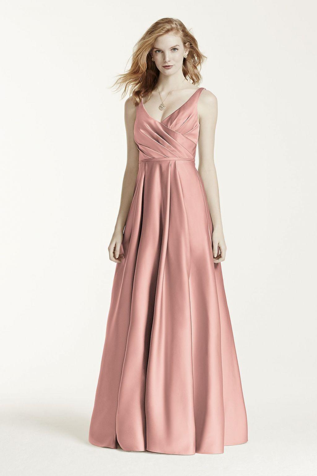 472d4e682344 David's Bridal Long Satin Tank Ball Gown / F15741, Size: 6 ...