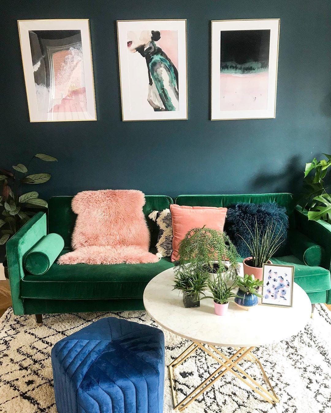 Dark Teal Walls Berber Style Monochrome Rug Velvet Green