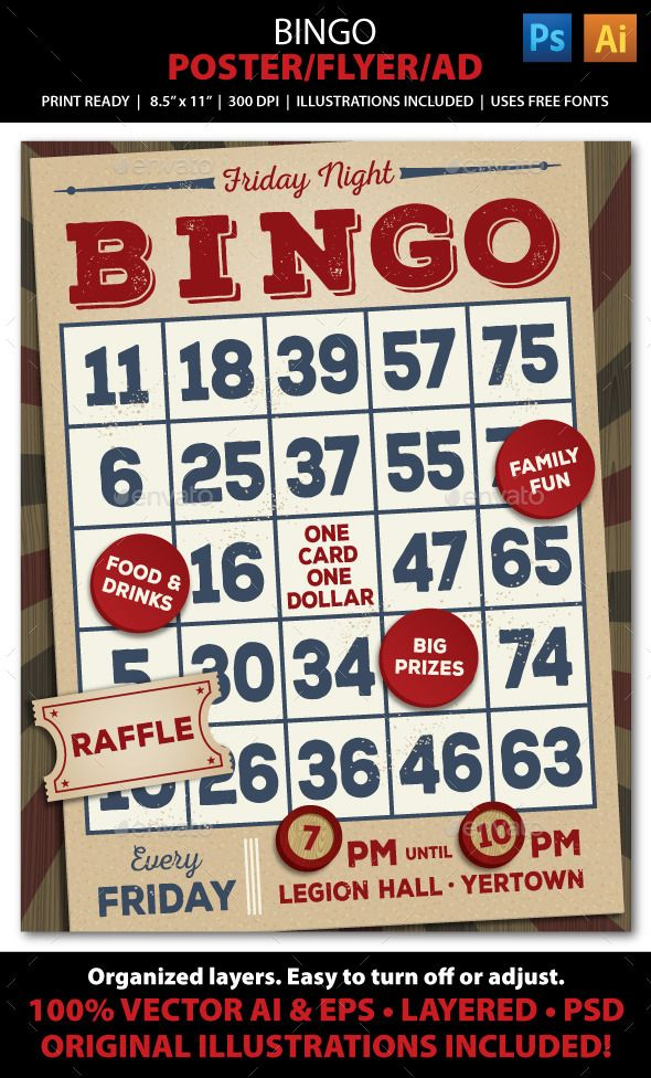 Bingo Event Poster Flyer Or Ad  Brochures Flyer Template And