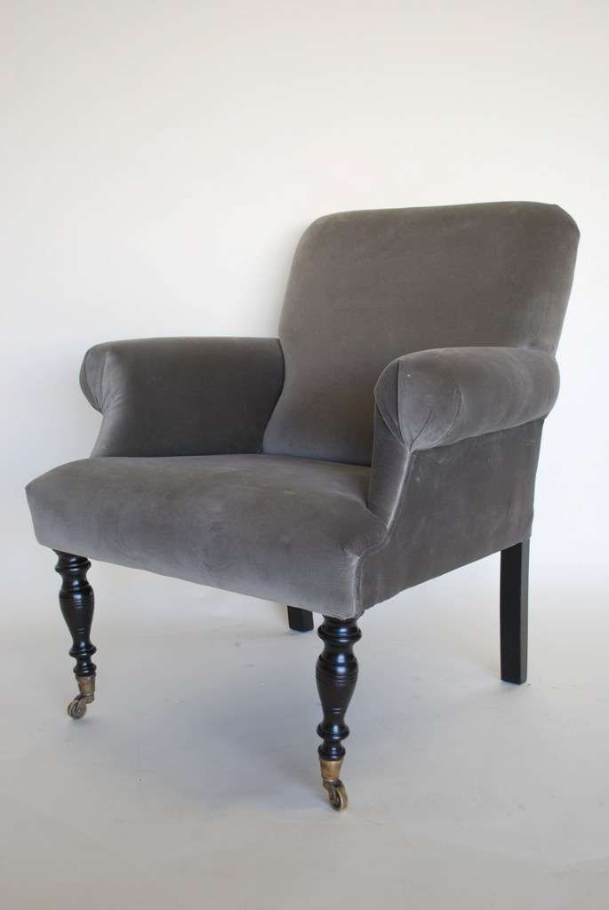 ARM077: mushroom grey velvet armchair with dark wood ornate front legs W80 x H90 x D82 cm