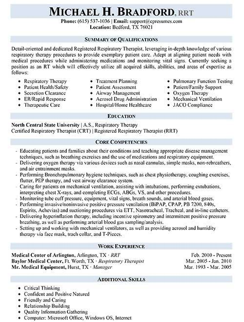 Respiratory Therapist Resume Sample Work Resume, Types of