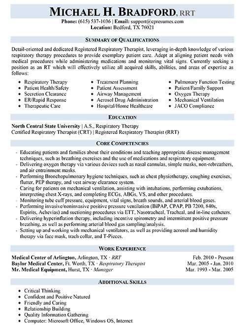 respiratory therapist student resume examples